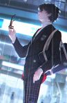 1boy amamiya_ren arm_at_side atlus backlighting bag black_hair blazer blurry blurry_background building cowboy_shot from_side glasses glasses_removed hand_in_pocket hand_up highres holding holding_glasses j_315_(jean) jacket kurusu_akira light long_sleeves looking_at_viewer male_focus megami_tensei night outdoors pants parted_lips persona persona_5 plaid plaid_pants rain school_uniform shirt short_hair side_glance solo_focus standing super_smash_bros. turtleneck