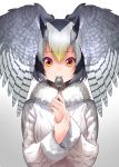 1girl black_hair fur_collar gochiwa hand_on_own_wrist head_wings highres kemono_friends long_sleeves looking_at_viewer multicolored_hair northern_white-faced_owl_(kemono_friends) red_eyes solo spoon spoon_in_mouth spread_wings upper_body white_background white_coat white_hair