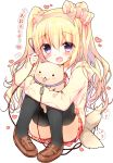 1girl :3 :d :p animal_ears bangs black_legwear blonde_hair blush bow brown_shoes commentary dog dog_ears dress_shirt eyebrows_visible_through_hair fake_animal_ears fang full_body hair_between_eyes hair_bow hairband hand_up heart holding_leash hood hoodie leash loafers long_hair looking_at_viewer necktie open_clothes open_hoodie open_mouth original pigeon-toed plaid plaid_necktie plaid_skirt pleated_skirt red_necktie red_skirt school_uniform shirt shoes sidelocks simple_background sitting skirt smile solo speech_bubble tail tail_wagging tareme thigh-highs thighs tongue tongue_out twintails violet_eyes wavy_hair white_background white_shirt yadapot