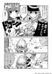 4girls braid comic greyscale hat izayoi_sakuya katari_(ropiropi) kirisame_marisa knife maid_headdress mizuhashi_parsee mob_cap monochrome multiple_girls patchouli_knowledge pointy_ears ponytail sash scarf single_braid touhou translation_request witch_hat
