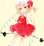 1girl arms_behind_back ascot bangs blonde_hair flandre_scarlet hat hat_ribbon highres laevatein looking_at_viewer mob_cap mokyuko open_mouth puffy_short_sleeves puffy_sleeves red_eyes red_ribbon red_shoes red_skirt ribbon shoes short_sleeves skirt skirt_set smile socks solo touhou vest white_legwear wings