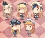 10s 5girls :d alcohol american_flag_legwear argyle argyle_background baguette beer beer_mug beret bismarck_(kantai_collection) black_legwear black_skirt blonde_hair blue_hair blush_stickers braid bread brown_hair checkered checkered_background coke commandant_teste_(kantai_collection) crown cup dress drinking_glass eating food food_on_face fork french_braid front-tie_top hair_between_eyes hamburger hat headdress holding holding_cup holding_fork ido_(teketeke) iowa_(kantai_collection) jacket kantai_collection littorio_(kantai_collection) long_hair long_sleeves military military_uniform mini_crown mismatched_legwear multicolored multicolored_clothes multicolored_hair multicolored_scarf multiple_girls off-shoulder_dress off_shoulder open_mouth peaked_cap pizza plaid plaid_scarf pom_pom_(clothes) ponytail red_skirt redhead sausage scarf shirt skirt smile streaked_hair teacup thigh-highs uniform warspite_(kantai_collection) white_dress white_hair white_jacket white_legwear white_shirt wine wine_glass