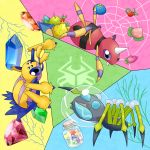 araquanid ariados bug crystal diamond food fruit galvantula highres poke_bean pokemon pokemon_(game) pokemon_sm spider