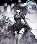 1girl alice_(sinoalice) blue_flower bug butterfly chain choker coffin dim00 dress earrings facepaint fishnets flower gothic hat highres holding holding_weapon insect jewelry looking_at_viewer puffy_sleeves red_eyes ribbon rose short_hair sinoalice solo tattoo thigh-highs top_hat veil weapon zettai_ryouiki