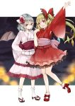 2girls alternate_costume bangs bat_wings blonde_hair blunt_bangs bow closed_mouth commentary_request fang fang_out flandre_scarlet flower hair_bow hair_flower hair_ornament high_heels highres japanese_clothes kimono long_hair long_sleeves looking_at_viewer mimoto_(aszxdfcv) multiple_girls open_mouth pink_kimono pointy_ears red_bow red_eyes red_kimono red_rose red_shoes remilia_scarlet rose sandals sash shoes silver_hair smile socks standing standing_on_one_leg touhou white_legwear wide_sleeves wings yukata