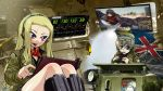 2girls alternate_hairstyle assam bangs binoculars black_boots blonde_hair blue_eyes boots brown_jacket closed_mouth commentary_request cutout darjeeling emblem extra ferret_scout_car girls_und_panzer headphones headset highres holding knee_boots long_hair looking_at_viewer military military_uniform monitor multiple_girls open_mouth r-ex short_hair sitting smile st._gloriana's_(emblem) sunglasses sunglasses_on_head tablet tank_interior tank_shell uniform union_jack world_of_tanks