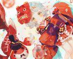 1girl :< blue_hair bubble closed_mouth commentary_request eyebrows fish frilled_kimono frills goldfish hannya hikimayu japanese_clothes kimono kimono_skirt koi looking_at_viewer mask obi oni_mask onmyoji onmyouji red_kimono ribbon sash shide short_hair short_kimono tagme v wide_sleeves yellow_eyes