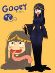 1girl blue_hair blush_stickers character_name dress gooey kirby_(series) long_hair long_tongue personification rariatto_(ganguri) simple_background smile tongue wall-eyed yellow_background