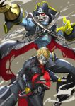 absurdres arm_cannon ascot blonde_hair captain_kidd_(persona) chains hat highres jojaow looking_at_viewer mask persona persona_5 pirate_hat sakamoto_ryuuji skull skull_mask smile sword weapon