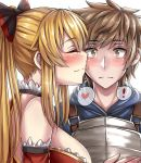 ! 1boy 1girl armor bare_shoulders black_bow blonde_hair blue_hoodie blush bow breasts brown_eyes brown_hair cheek_kiss closed_eyes closed_mouth commentary couple detached_sleeves eyebrows_visible_through_hair frills gran_(granblue_fantasy) granblue_fantasy hair_bow heart hetero highres hood hoodie kiss large_breasts light_smile long_hair matching_hair/eyes neck ponytail red_detached_sleeves sanmotogoroo shiny shiny_hair short_hair smile spoken_exclamation_mark spoken_heart surprised upper_body vira white_background