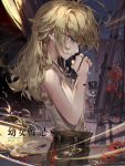 1girl artist_name blonde_hair blue_eyes copyright_name deviantart_username eyebrows_visible_through_hair from_side kawacy looking_away medium_hair parted_lips praying solo tanya_degurechaff watermark web_address youjo_senki