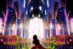 1girl absurdres artist_name black_hair chair church_interior from_behind highres long_hair moss original scenery yomochi_(y0m0chi)