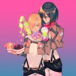 2girls annie_leonhardt belt black_eyes black_hair blonde_hair blue_eyes bottle doughnut drinking drinking_cup drinking_straw eating food highres jacket long_sleeves mikasa_ackerman multiple_girls red_scarf scarf shingeki_no_kyojin short_hair uniform