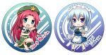 2girls apron aqua_eyes beret blue_eyes bow braid character_name chibi cup fighting_stance hair_bow hat hong_meiling izayoi_sakuya knife konatsu_hisagi long_hair maid maid_headdress multiple_girls open_mouth redhead silver_hair teacup teapot touhou tray twin_braids very_long_hair waist_apron
