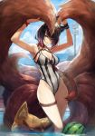1girl ahri animal_ears bangs black_hair blue_sky breasts choker cleavage clouds cloudy_sky day food fox fox_ears fox_tail fruit goggles goggles_on_head goomrrat gradient_hair grin heart_choker hips kyuubi league_of_legends leotard looking_at_viewer multicolored_hair multiple_tails ocean outdoors parted_lips pink_hair short_hair sidelocks sign sky smile solo striped striped_leotard tail thigh_strap thighs vertical_stripes wading watermelon yellow_eyes