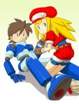 1girl bike_shorts blonde_hair gloves green_eyes hat highres long_hair noq open_mouth red_shorts rockman rockman_dash roll_caskett shorts smile
