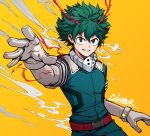 >:) 1boy artist_name boku_no_hero_academia buttons citemer comic cowboy_shot elbow_gloves formal freckles gloves green_clothes green_eyes green_hair looking_at_viewer male_focus midoriya_izuku outstretched_hand reaching simple_background smile smoke solo suit tagme white_gloves yellow_background