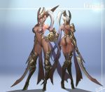 1girl armor armored_boots ass boots breasts cleavage closed_mouth dark_elf dark_skin elf full_body garter_straps gauntlets hand_on_hip helmet high_heel_boots high_heels highleg highres holding holding_sword holding_weapon large_breasts long_hair looking_at_viewer multiple_views navel original pointy_ears shield silver_hair single_pauldron smile smjim1986 standing stomach sword tattoo thigh-highs thigh_boots very_long_hair weapon yellow_eyes