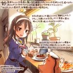 10s 1girl :d animal ashigara_(kantai_collection) black_skirt brown_eyes brown_hair colored_pencil_(medium) commentary_request dated hairband hamster holding holding_spoon horned_headwear jacket kantai_collection kirisawa_juuzou long_hair long_sleeves military military_uniform non-human_admiral_(kantai_collection) numbered omelet open_mouth pantyhose plant purple_jacket sitting skirt smile spoon traditional_media translation_request twitter_username uniform white_hairband white_legwear