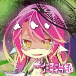 1girl angel_wings bridal_gauntlets chibi copyright_name crop_top evil_smile feathered_wings gloves gradient_hair halo jibril_(no_game_no_life) long_hair low_wings lowres magic_circle multicolored_hair navel no_game_no_life official_art open_mouth pink_hair smile solo tattoo white_wings wing_ears wings yellow_eyes