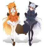 2girls animal_ears artist_request black_gloves black_legwear black_necktie blonde_hair blush bow bowtie breasts extra_ears ezo_red_fox_(kemono_friends) fox_ears fox_tail gloves hair_between_eyes jacket kemono_friends light_smile long_hair long_sleeves looking_at_viewer looking_to_the_side medium_breasts multicolored_hair multiple_girls necktie open_mouth pantyhose pleated_skirt silver_fox_(kemono_friends) silver_hair skirt tail very_long_hair yellow_necktie