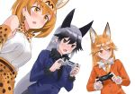 3girls absurdres animal_ears black_necktie blush bow bowtie brown_eyes controller eyebrows_visible_through_hair ezo_red_fox_(kemono_friends) fox_ears game_controller highres kemono_friends looking_away multiple_girls necktie open_mouth orange_bow orange_bowtie orange_eyes orange_hair orange_necktie serval_(kemono_friends) serval_ears short_hair silver_fox_(kemono_friends) smile ssamjang_(misosan)