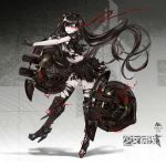1girl armor armored_boots black_boots black_gloves black_hair black_legwear black_serafuku black_shirt black_skirt boots breasts burning_eyes cleavage floating_hair full_body girls_frontline gloves high_heel_boots high_heels highres infukun knee_boots long_hair medium_breasts midriff miniskirt navel outstretched_arm pleated_skirt red_eyes school_uniform serafuku shirt short_sleeves skirt smile solo standing stomach thigh-highs torn_clothes torn_shirt torn_skirt torn_thighhighs twintails under_boob very_long_hair