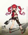 1girl asymmetrical_clothes black_gloves black_pants black_ribbon choker collarbone fingerless_gloves floating_hair full_body girls_frontline gloves grey_background hair_ornament hair_ribbon hairclip highres holding_axe infukun long_hair looking_at_viewer midriff navel open_mouth pants red_eyes red_shirt redhead ribbon shirt sleeveless sleeveless_shirt solo standing stomach torn_clothes torn_pants torn_shirt twintails very_long_hair