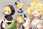 1girl =_= ^_^ ^o^ blonde_hair bowl braid closed_eyes dress food hat holding holding_bowl kirisame_marisa multiple_views open_mouth piyokichi short_hair short_sleeves single_braid smile touhou wild_and_horned_hermit witch_hat yellow_eyes