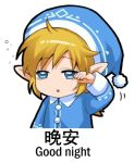 1boy blonde_hair blue_eyes chinese e= eyebrows_visible_through_hair link looking_at_viewer lowres parted_lips pointy_ears rubbing_eyes shangguan_feiying short_hair sleeping_cap solo the_legend_of_zelda the_legend_of_zelda:_breath_of_the_wild translation_request