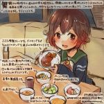 1girl :d black_jacket bowl brown_eyes brown_hair cardigan colored_pencil_(medium) commentary_request crescent crescent_moon_pin curry curry_rice dated food holding holding_bowl jacket kantai_collection kirisawa_juuzou long_sleeves mutsuki_(kantai_collection) neckerchief numbered open_mouth red_neckerchief remodel_(kantai_collection) rice school_uniform serafuku short_hair sitting smile solo traditional_media translation_request twitter_username