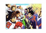 6+boys bandaid bandaid_on_nose black_eyes black_hair blonde_hair blue_clothes blue_eyes blue_hair boned_meat brown_eyes brown_hair character_request clenched_hand commentary_request determined earrings eating eyeshield_21 food football_helmet football_uniform grass grin gun headwear_removed helmet helmet_removed highres holding holding_food holding_goggles holding_gun holding_helmet holding_weapon jewelry kobayakawa_sena looking_at_another meat multicolored_hair multiple_boys murata_yuusuke pink_hair pointy_hair raised_fist rasta red_clothes red_helmet rifle scan sharp_teeth smile smug sportswear standing teeth weapon