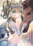 1girl animal_ears arched_back back bare_shoulders blonde_hair blue_eyes bow braid commentary_request crop_top dimples_of_venus elbow_gloves eyebrows_visible_through_hair eyes_visible_through_hair fingerless_gloves gloves hair_bow hair_ribbon horse horse_ears horse_tail japan_racing_association kemono_friends long_hair looking_at_viewer ponytail ribbon shirt sidelocks sleeveless sleeveless_shirt smile solo tail tail_braid tansan_daisuki twin_braids upper_body white_gloves white_shirt white_thoroughbred_(kemono_friends)