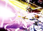 2girls absurdres black_eyes black_gloves black_legwear black_ribbon blonde_hair brown_hair dress fate_testarossa fingerless_gloves floating_hair gloves hair_ribbon highres holding holding_staff holding_sword holding_weapon long_hair lyrical_nanoha magic_circle magical_girl mahou_shoujo_lyrical_nanoha miniskirt multiple_girls newtype open_mouth pink_skirt pleated_skirt ribbon skirt socks staff sword takamachi_nanoha twintails weapon white_ribbon