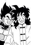2boys armor chinese_clothes dragon_ball dragonball_z grin highres ink_(medium) lee_(dragon_garou) male_focus monochrome multiple_boys nib_pen_(medium) scar_on_cheek self_shot smile traditional_media vegeta widow's_peak yamcha