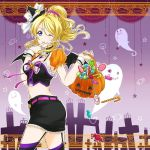 1girl ;d ayase_eli belt black_hat black_legwear black_skirt black_wings blonde_hair blue_eyes choker cowboy_shot crop_top demon_wings finger_to_mouth floating_hair from_side garter_straps hair_ornament hair_scrunchie halloween halloween_costume hat hat_ribbon high_ponytail holding index_finger_raised long_hair love_live! love_live!_school_idol_project midriff mini_hat miniskirt navel one_eye_closed open_mouth pumpkin_bag ribbon scrunchie skirt sleeveless smile solo standing stomach thigh-highs white_ribbon wings witch_hat wrist_cuffs yamazaki_mitsuko