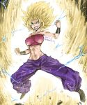 1girl amania_orz aura baggy_pants bare_shoulders blonde_hair breasts caulifla crop_top dated dragon_ball dragon_ball_super electricity green_eyes grin impossible_clothes large_breasts midriff navel pants purple_pants smile solo spiky_hair super_saiyan super_saiyan_2 twitter_username wristband