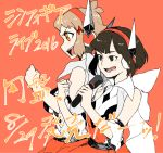 2016 2girls bare_shoulders black_eyes black_hair blush clenched_hand crossover female hair_ornament hairclip headphones holding holding_microphone light_brown_hair microphone multiple_girls music neck orange_background orange_eyes profile ramenko_(pasta_nya) round_teeth seiyuu_connection senki_zesshou_symphogear short_hair simple_background singing sleeveless smile tachibana_hibiki_(symphogear) teeth translation_request yuuki_aoi