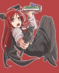 1girl black_legwear black_shoes black_skirt book demon_wings foreshortening full_body gun head_wings high_heels highres holding holding_book holding_gun holding_weapon imi_uzi koakuma long_hair long_sleeves looking_at_viewer m92fs open_mouth pantyhose red_background red_eyes redhead shoes simple_background skirt solo submachine_gun touhou weapon wings