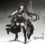 1girl armor armored_boots black_boots black_eyes black_gloves black_hair black_legwear black_serafuku black_shirt black_skirt boots bow bowtie collarbone crop_top floating_hair full_body girls_frontline gloves high_heel_boots high_heels highres infukun knee_boots long_hair looking_at_viewer midriff miniskirt navel open_mouth pleated_skirt school_uniform serafuku shirt short_sleeves skirt smile solo standing stomach thigh-highs twintails very_long_hair white_bow white_bowtie zettai_ryouiki