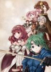 2girls 3boys alm_(fire_emblem) armor boey_(fire_emblem) cape celica_(fire_emblem) dyute_(fire_emblem) fire_emblem fire_emblem_echoes:_mou_hitori_no_eiyuuou fire_emblem_gaiden holding holding_sword holding_weapon mae_(fire_emblem) multiple_boys multiple_girls savor smile sword twintails weapon