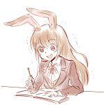 1girl animal_ears book brown_hair confused iesupa pen rabbit_ears rwby school_uniform shaking sweatdrop velvet_scarlatina