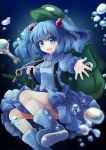1girl absurdres backpack bag blue_boots blue_eyes blue_hair boots bubble cucumber gradient gradient_background hacko hair_bobbles hair_ornament hat highres kawashiro_nitori key kneehighs long_sleeves looking_at_viewer open_mouth outstretched_arm puffy_sleeves rubber_boots screwdriver shirt skirt skirt_set smile solo touhou two_side_up white_legwear