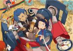 1girl 3boys bangs_pinned_back blue_hair brown_shorts darry_adai gimmy goggles hair_slicked_back jacket kamina lagann male_focus multiple_boys out_of_frame plug red_eyes shirtless short_hair shorts simon sitting stuffed_toy sushio tattoo tengen_toppa_gurren_lagann wiping