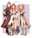 4girls armor cape celica_(fire_emblem) cloak curly_hair fire_emblem fire_emblem_echoes:_mou_hitori_no_eiyuuou fire_emblem_gaiden gloves highres jenny_(fire_emblem) kyou_(ningiou) looking_at_viewer mae_(fire_emblem) multiple_girls pink_hair purple_hair redhead simple_background smile sonia_(fire_emblem_gaiden) thigh-highs twintails