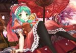1girl bangs black_legwear blunt_bangs breasts cake cherry_blossoms dress eating eyebrows_visible_through_hair food frilled_dress frills front_ponytail green_eyes green_hair hair_ribbon holding holding_food kagiyama_hina long_hair looking_at_viewer medium_breasts oriental_umbrella outdoors panties panties_under_pantyhose pantyhose pantyshot pantyshot_(sitting) puffy_short_sleeves puffy_sleeves red_dress red_ribbon ribbon short_sleeves sitting solo spirtie swiss_roll touhou tree umbrella underwear wrist_cuffs