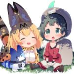 2girls :d :o animal_ears backpack bag black_tank_top blonde_hair bucket_hat chibi commentary_request elbow_gloves gloves grass green_eyes green_hair hat hat_feather highres kaban_(kemono_friends) kemono_friends lucky_beast_(kemono_friends) makuran multiple_girls off_shoulder open_mouth oversized_clothes print_bowtie print_gloves print_skirt red_shirt serval_(kemono_friends) serval_ears serval_print serval_tail shirt short_hair shorts sitting skirt smile tail tank_top tree_shade younger |d
