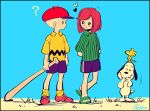 1boy 1girl ? arms_behind_back baseball_cap beagle bird black_border blonde_hair blue_shorts border brown_hair charlie_brown dog freckles green_shirt hat heart laughing looking_at_another noaki peanuts peppermint_patty sandals shirt shorts signature snoopy striped striped_shirt vertical_stripes woodstock yellow_shirt