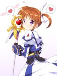1girl black_gloves blush brown_hair dress fingerless_gloves gauntlets gloves hair_ribbon heart highres juliet_sleeves long_sleeves lyrical_nanoha magical_girl mahou_shoujo_lyrical_nanoha mahou_shoujo_lyrical_nanoha_the_movie_3rd:_reflection puffy_sleeves raising_heart ribbon shinki_(shinki59) shiny shiny_hair short_twintails smile speech_bubble spoken_heart staff takamachi_nanoha twintails violet_eyes white_background