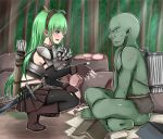 1boy 1girl armor baretto_(karasi07) basket book bow_(weapon) elf fingerless_gloves flower food forest gloves green_hair highres long_hair meat monster nature orc original pantyhose paper pointy_ears quiver scar skirt squatting sword tears weapon